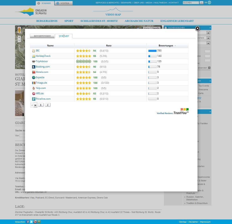 Bewertungstool auf der Homepage von Engadin St. Moritz Slide 1