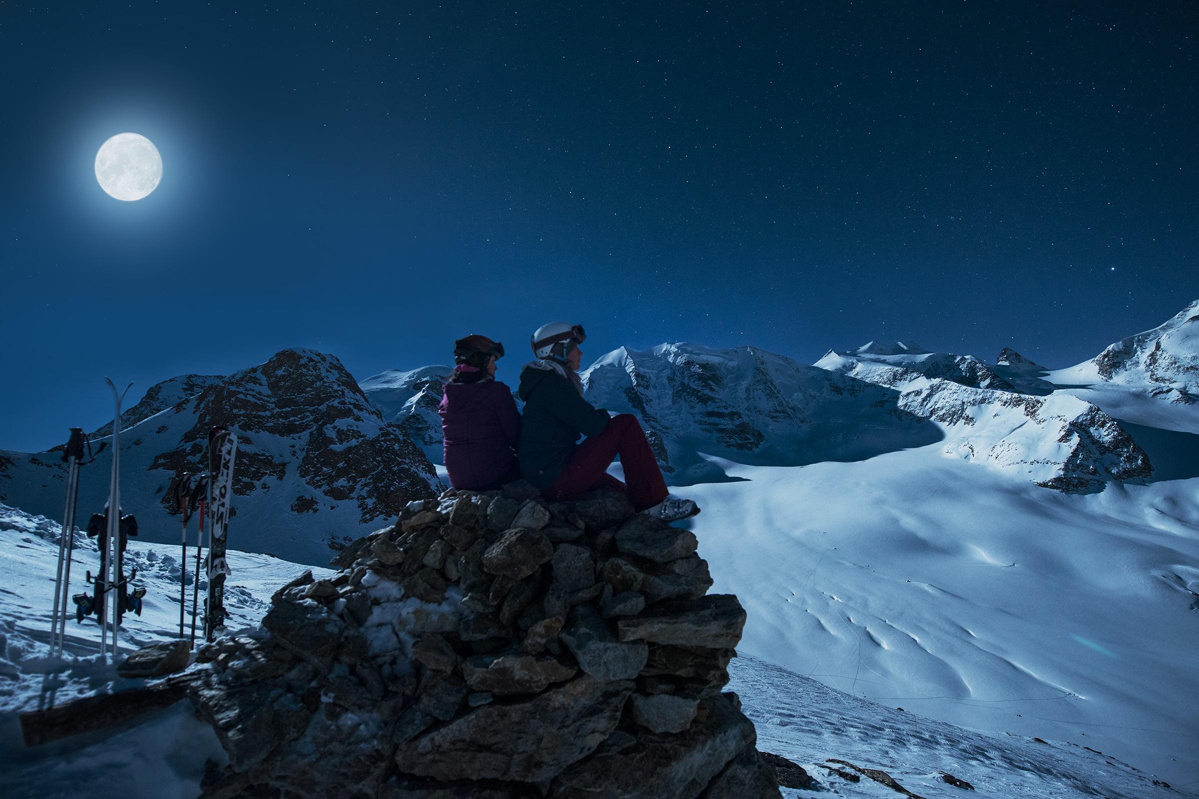 Glüna Plaina: Vollmond-Skifahren auf der Diavolezza