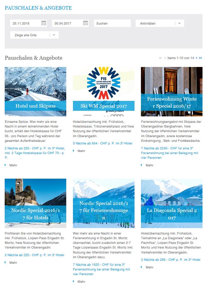 Leistungsträgerpauschalen auf der Webseite von Engadin St. Moritz Slide 1