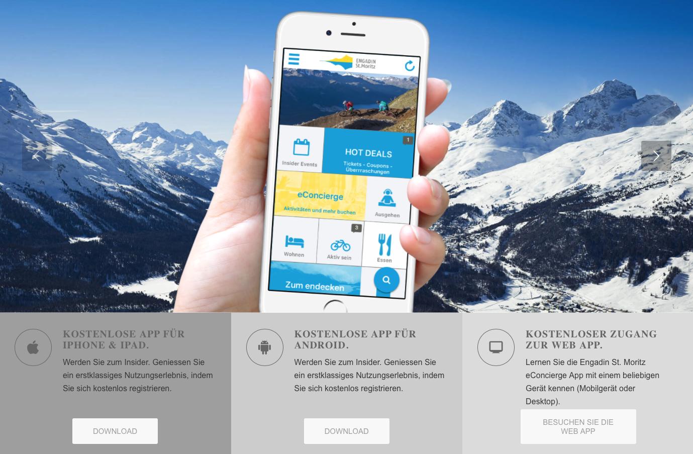 Engadin St. Moritz eConcierge App Slide 1