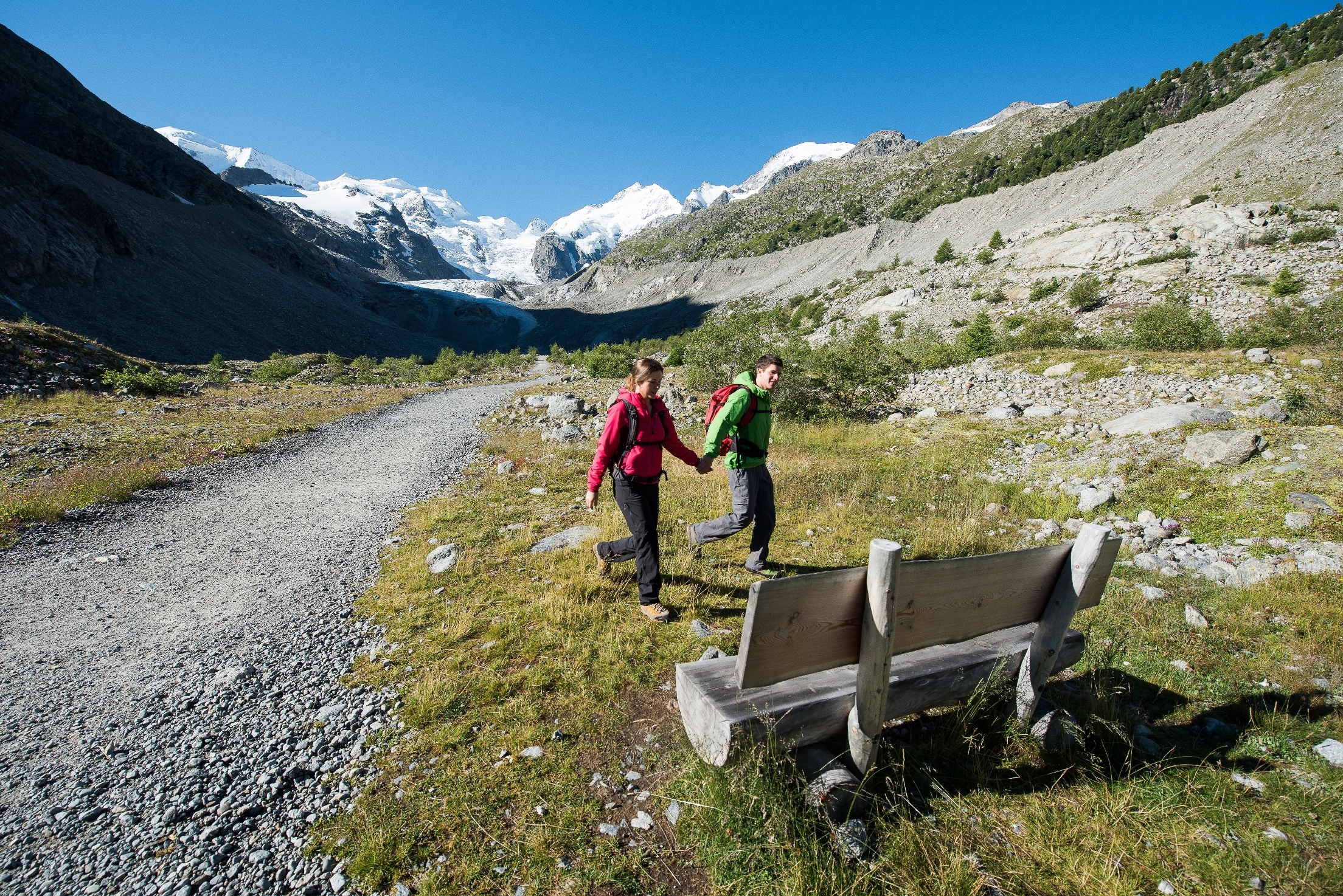 Seat bench Glacier walk Morteratsch Slide 1
