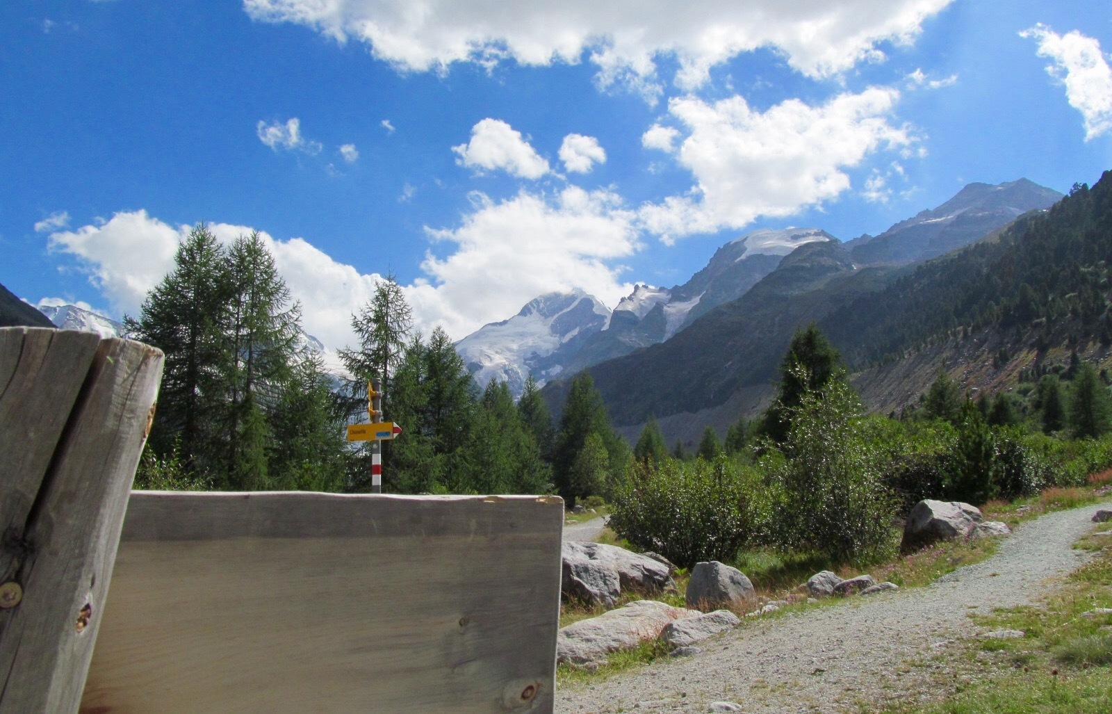 Seat bench Glacier walk Morteratsch Slide 2