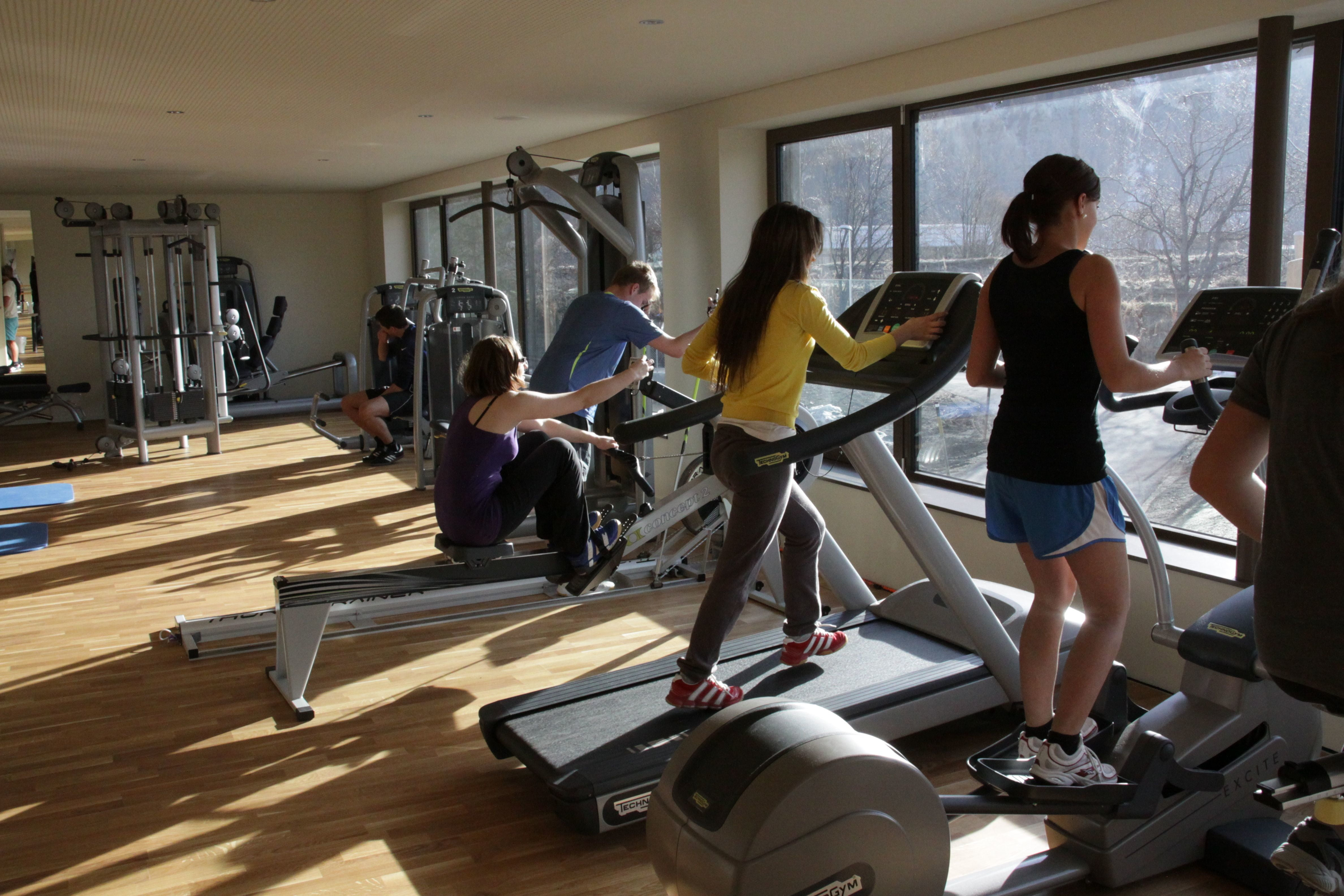 Weight and fitness room at the Promulins Arena, Samedan