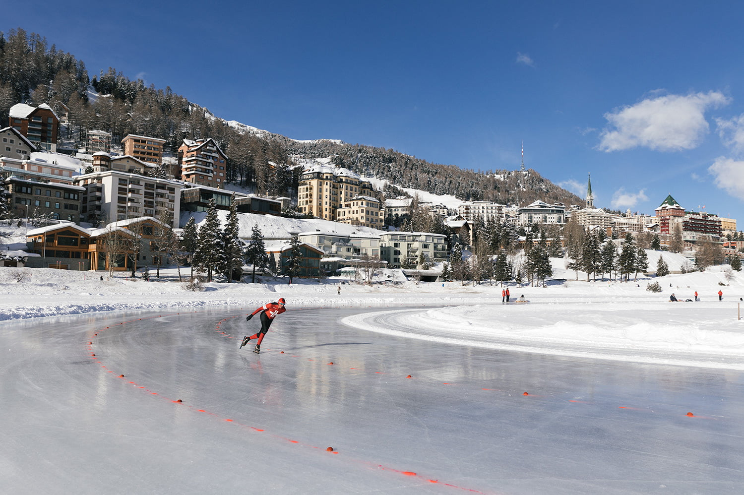 Ice Skating on the frozen Lake St. Moritz