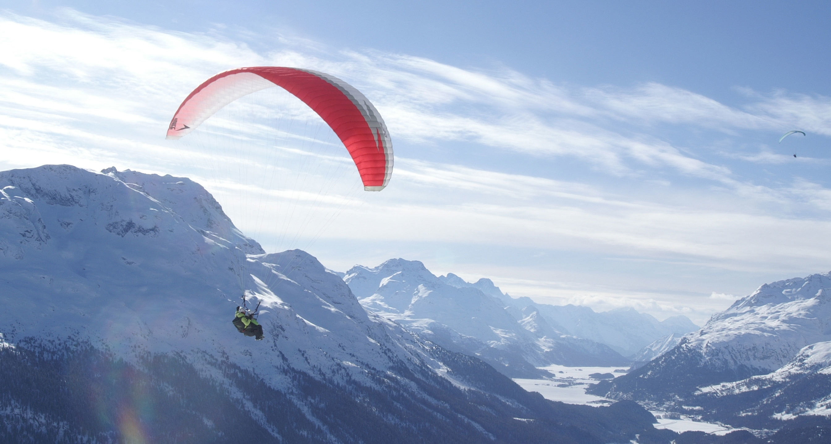Snowkiten auf dem Berninapass