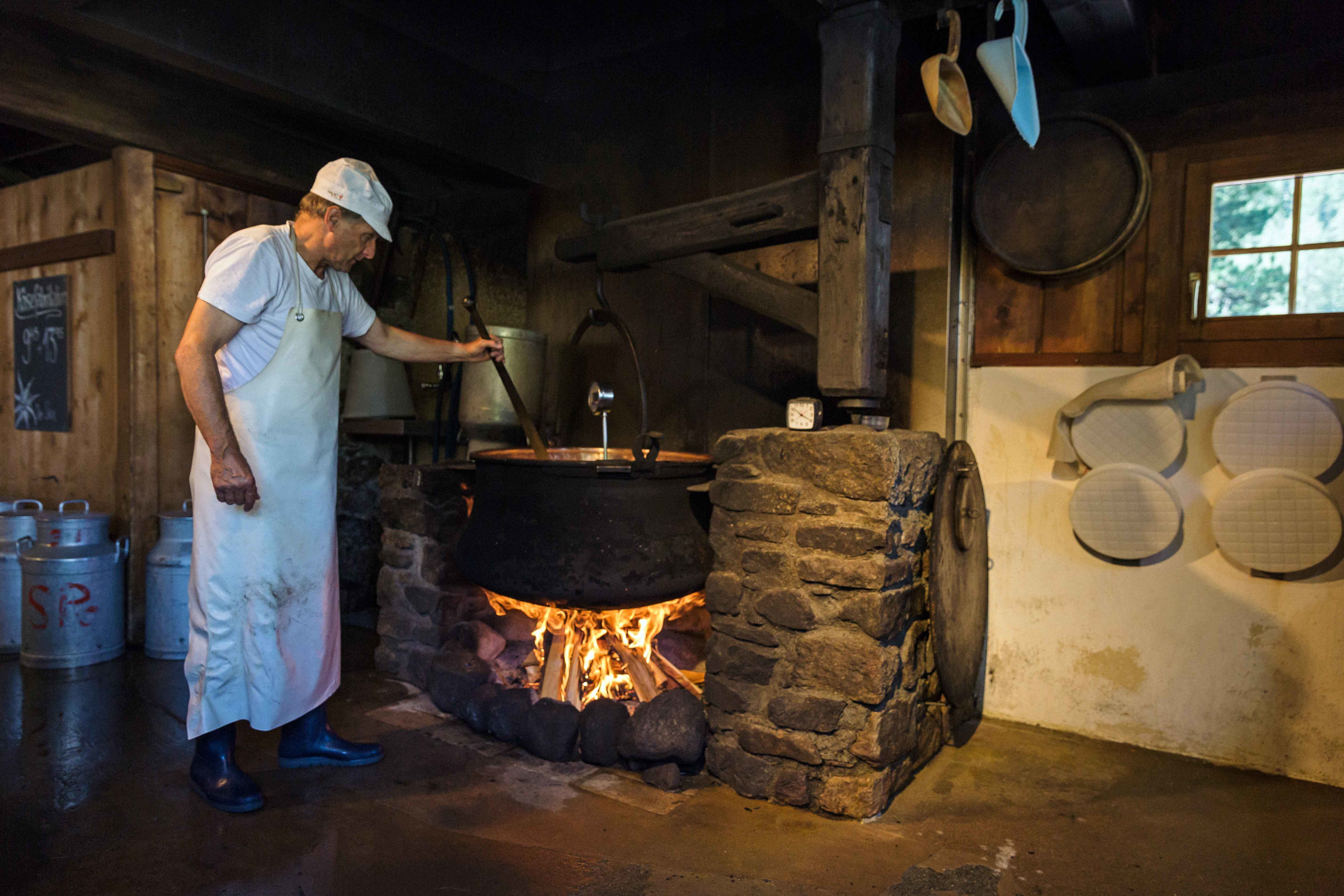 Traditional production of alpine cheese in the Engadin