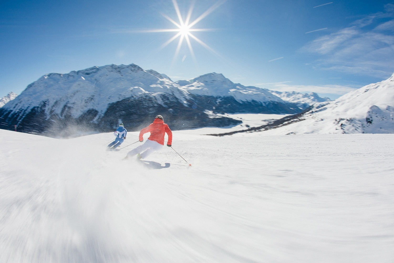 Skiing at Corviglia Piz Nair