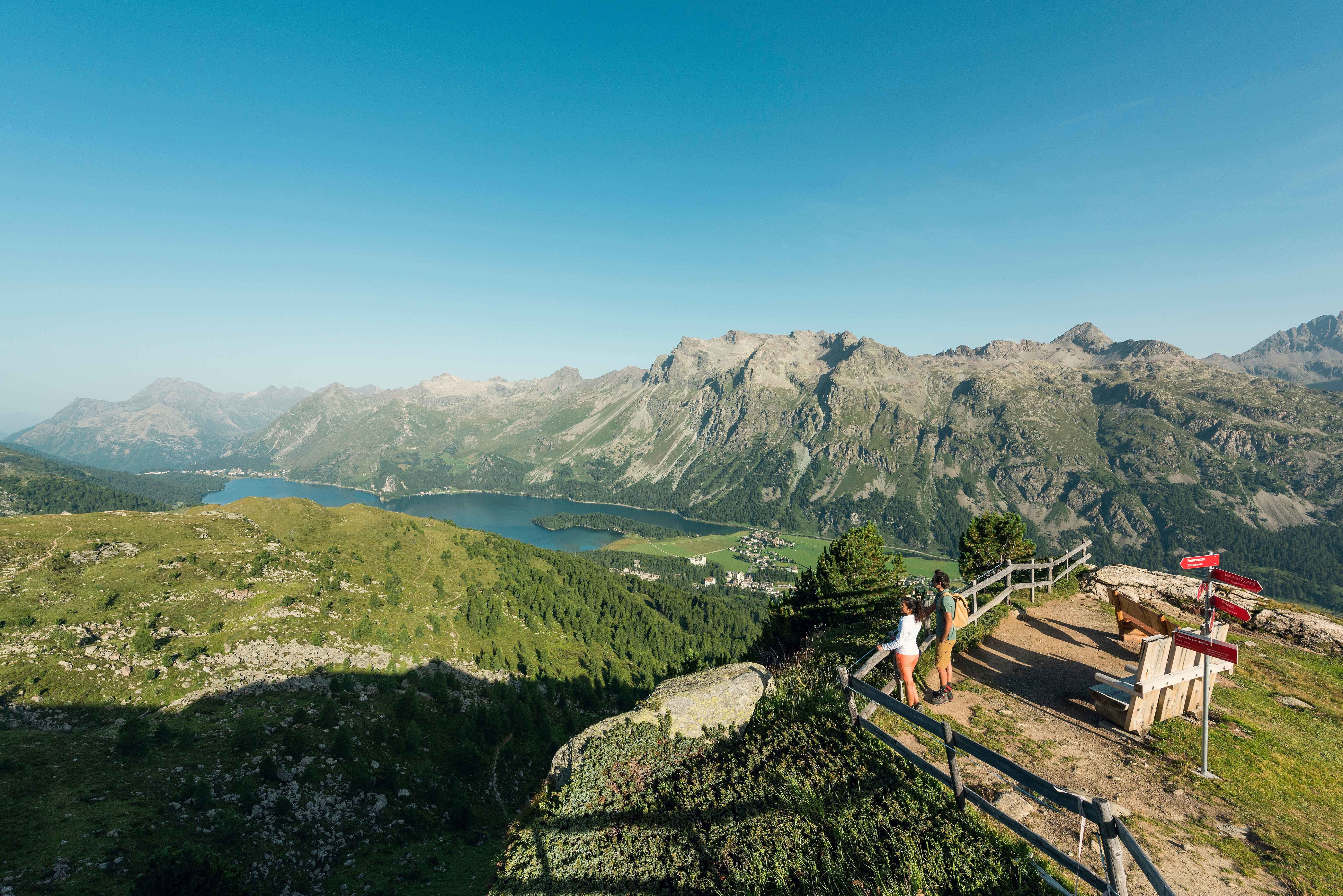 View from Furtschellas over Lake Sils