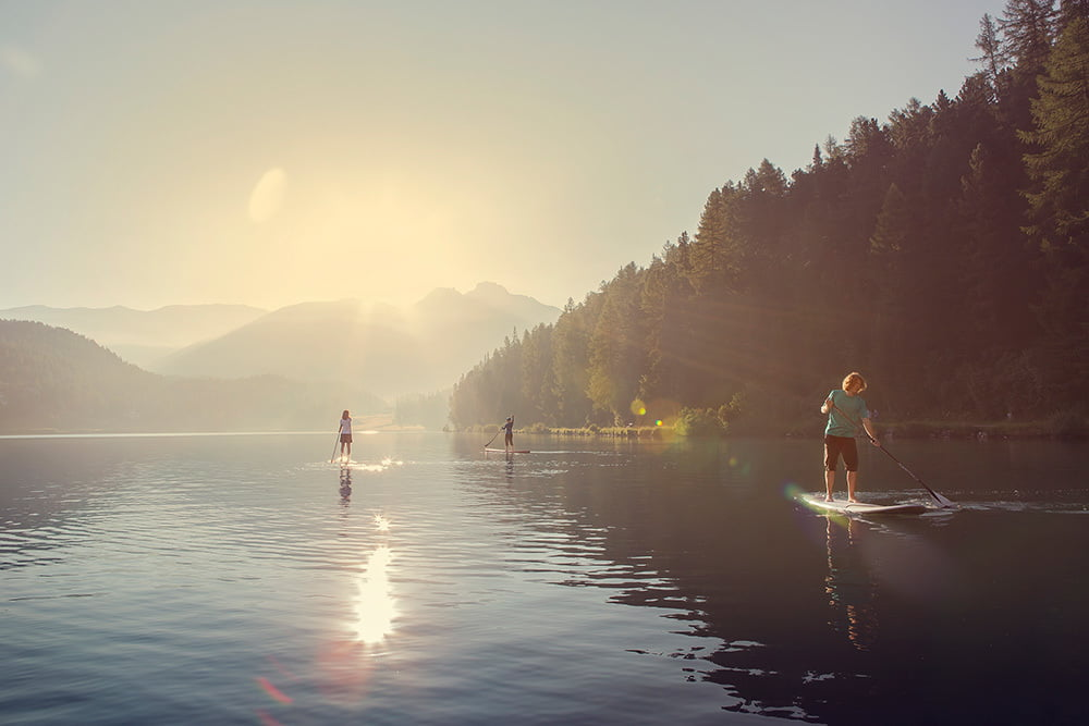 Stand-Up-Paddling auf dem St. Moritzersee