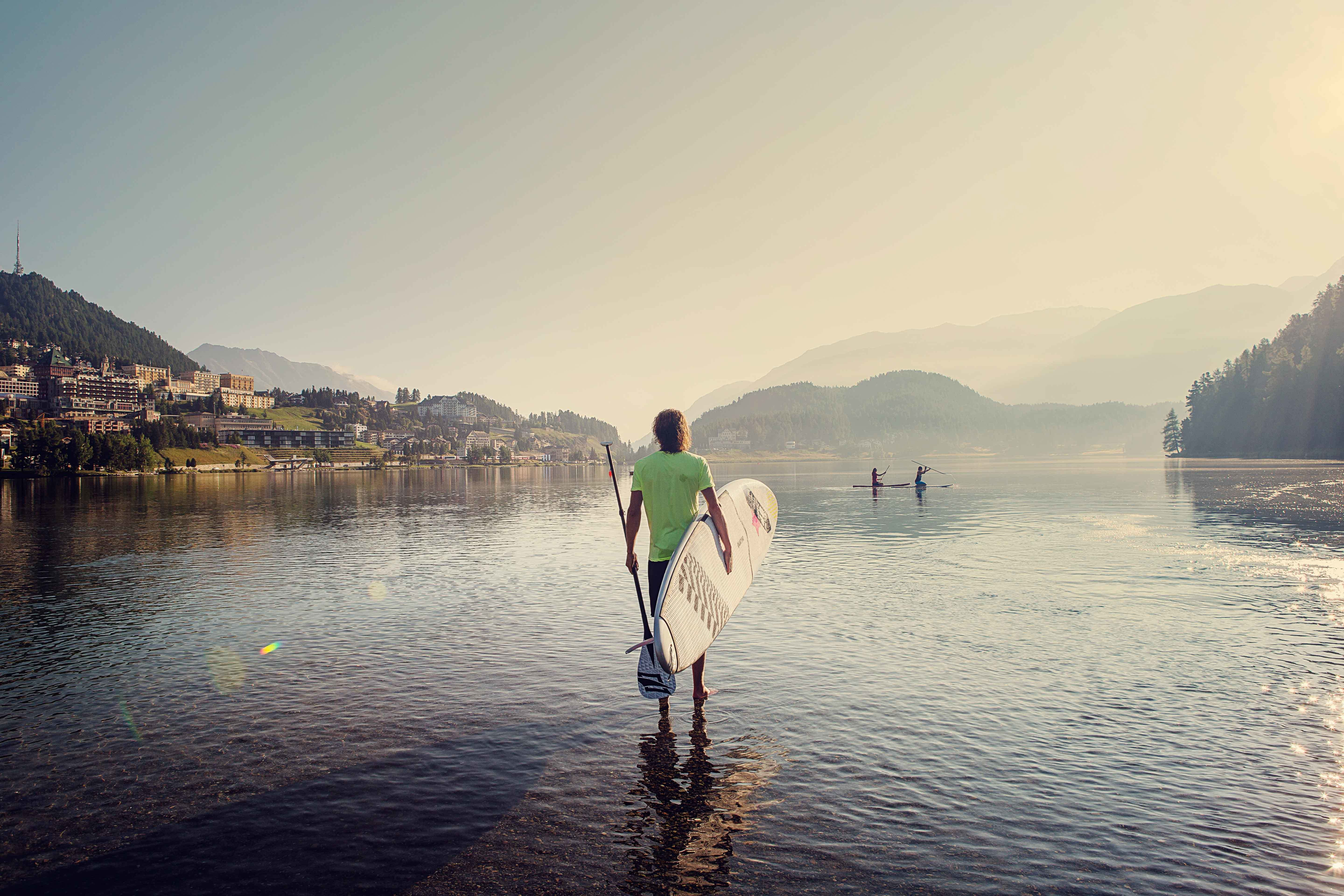 Stand-up paddleboarding at Lake St. Moritz
