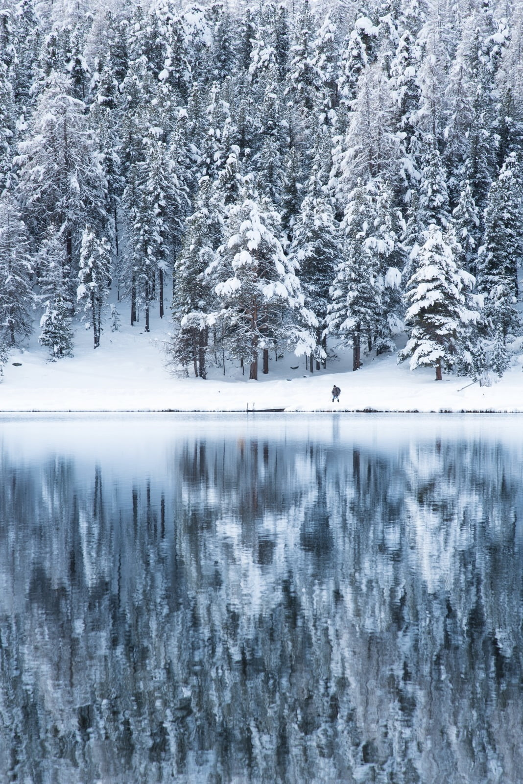 Winterwandern vorbei am Lej da Staz, oberhalb von St. Moritz.