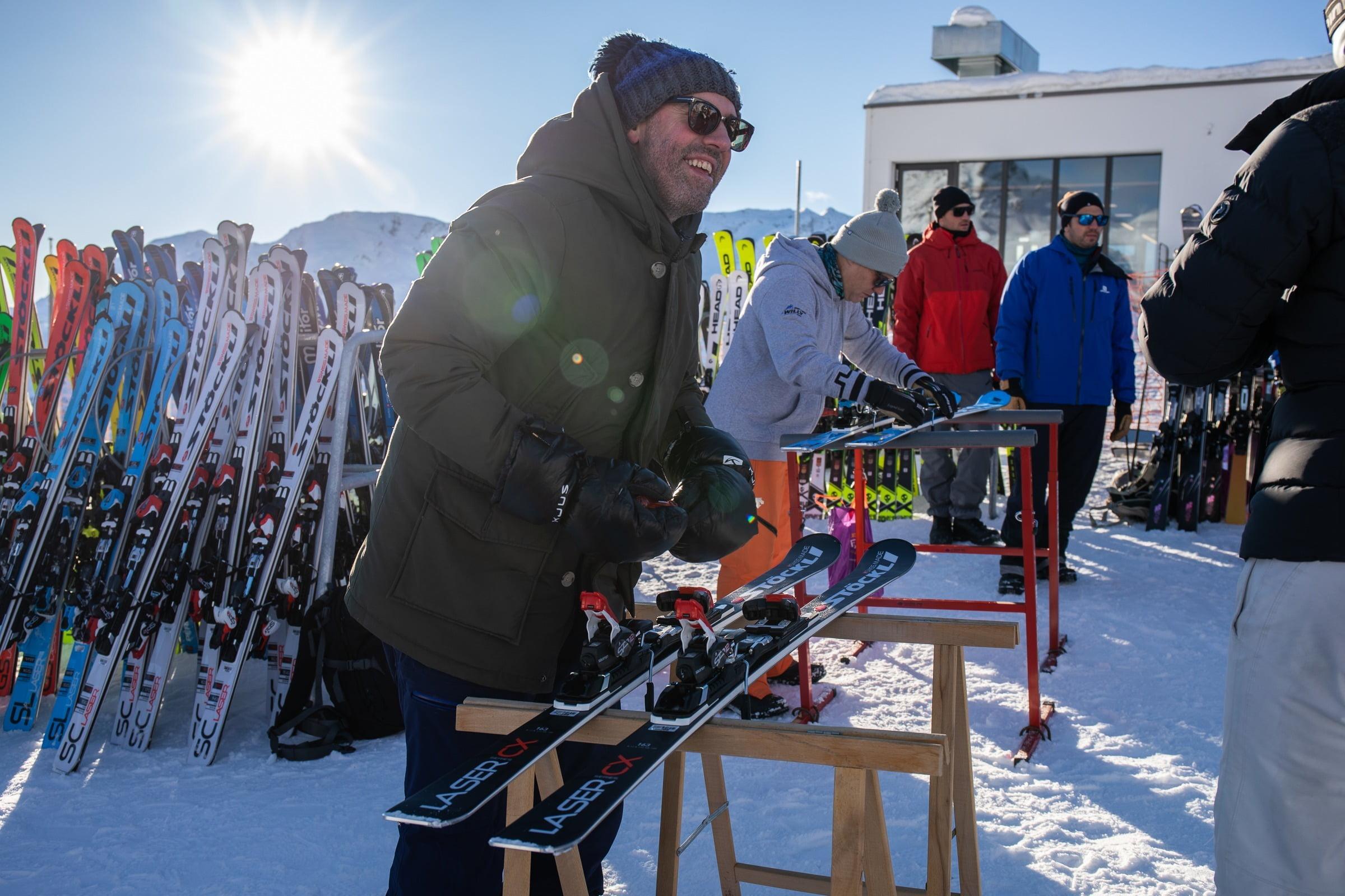 Skitest mit Stöckli und Elan auf Corviglia