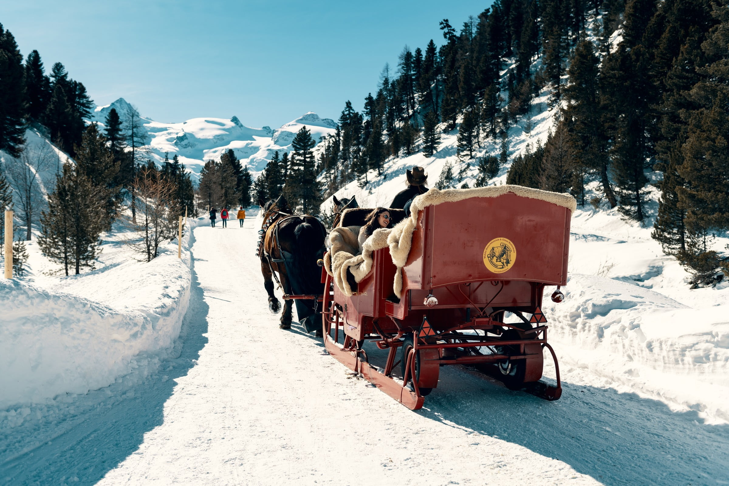 Horse-drawn sleigh rides into the beautiful Val Roseg