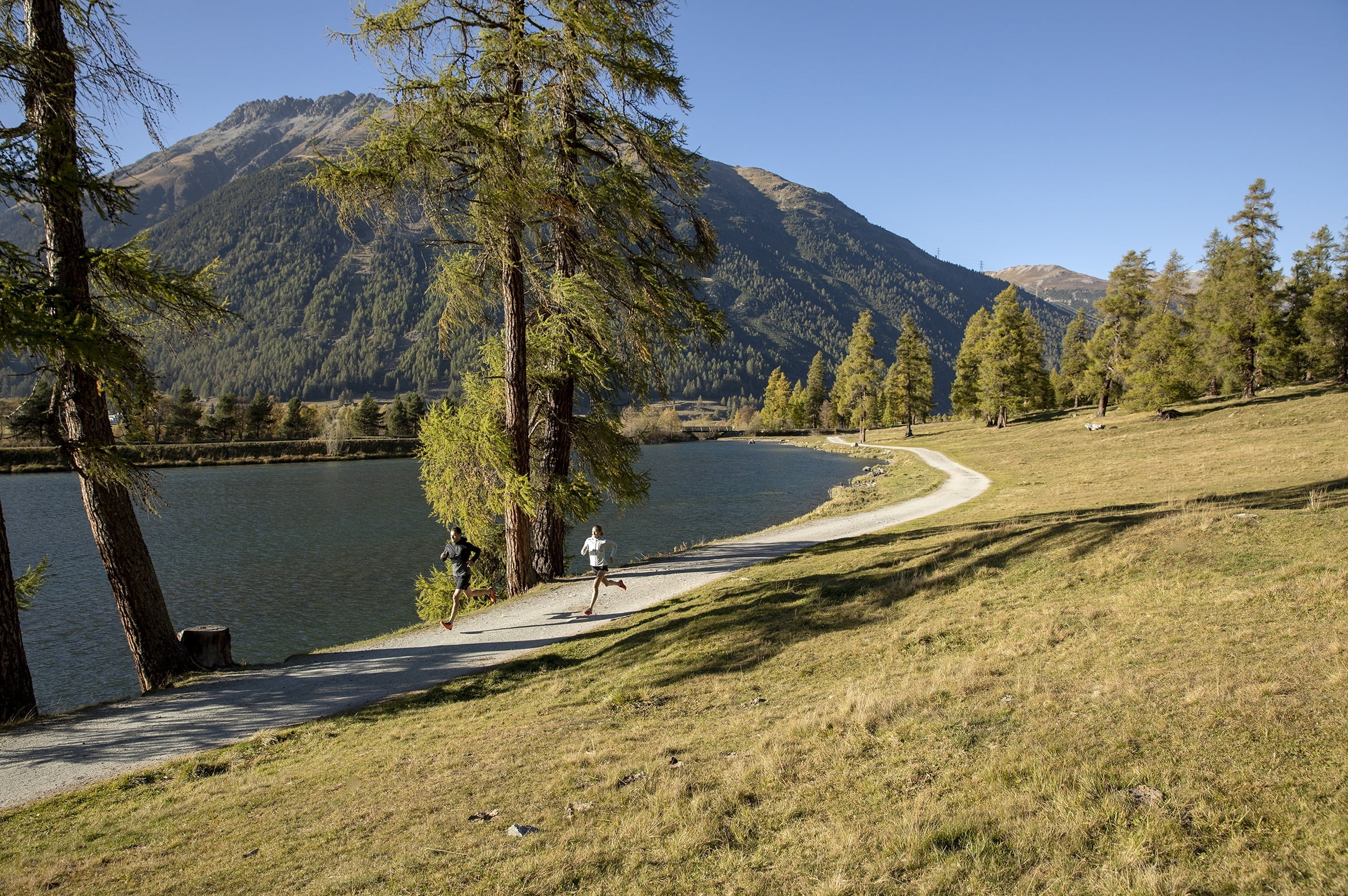 Running at the Lake St. Moritz