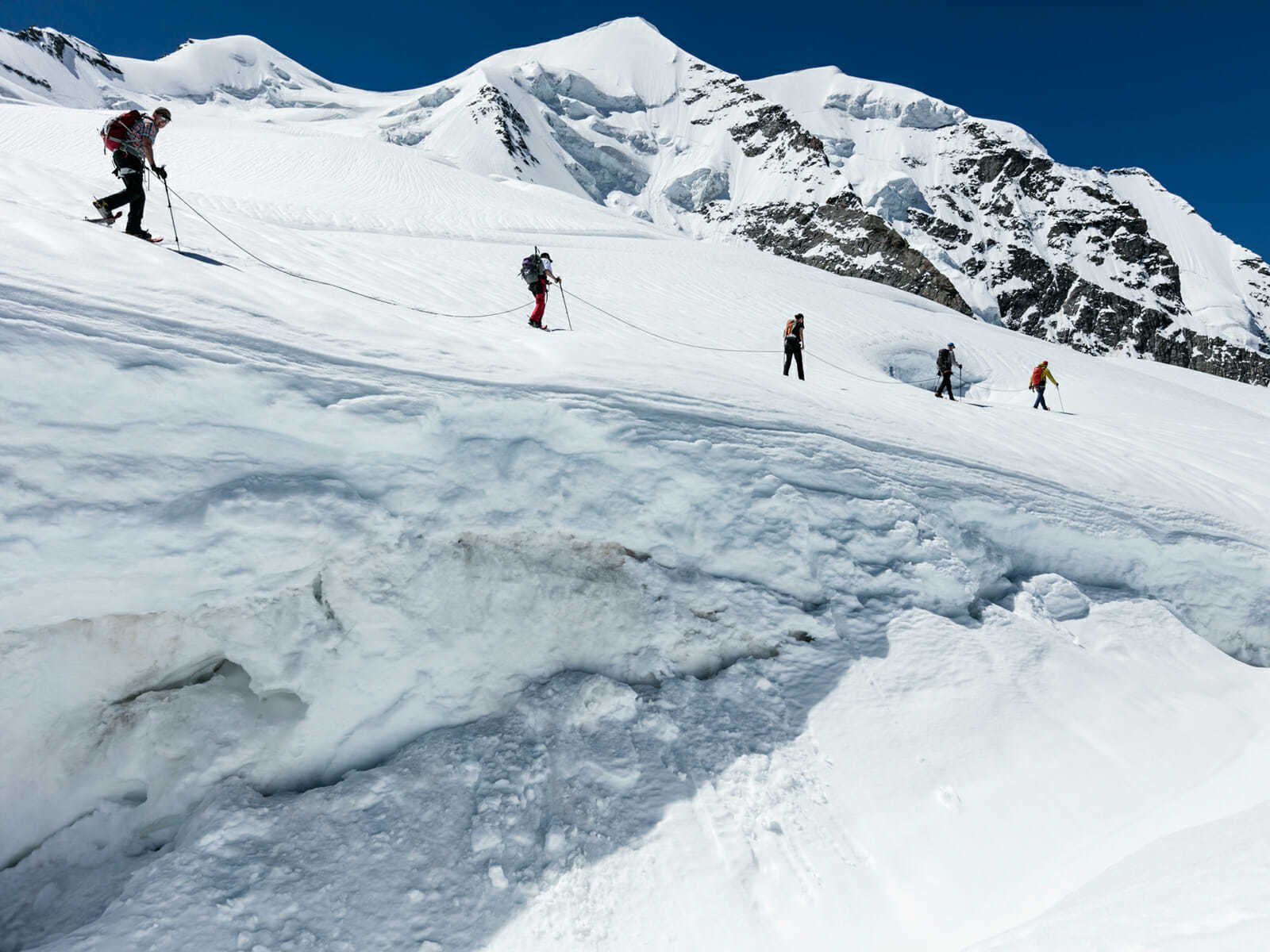 Guided glacier trekking Crap Pers with qualified mountain guide
